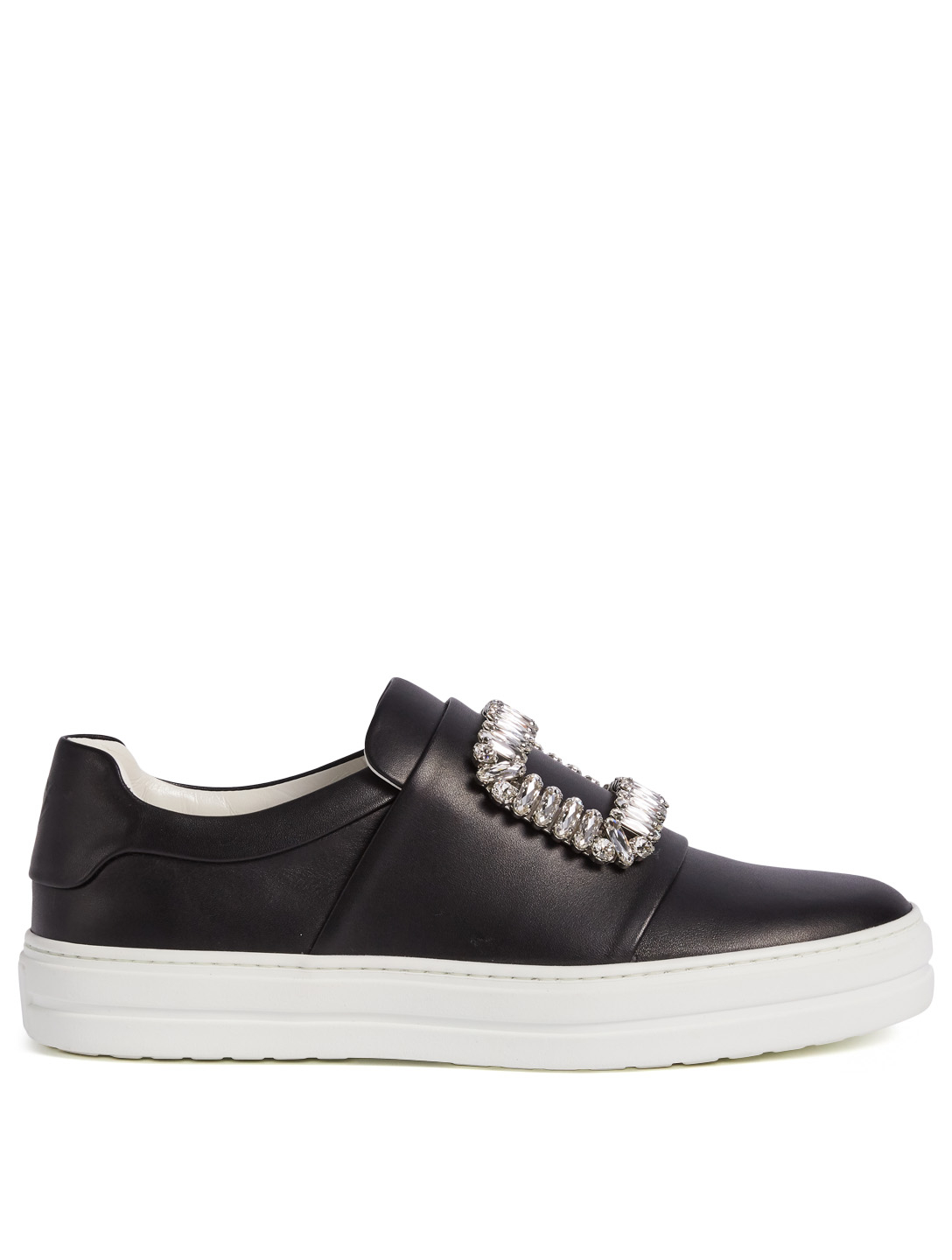 ROGER VIVIER Sneaky Viv Buckle Leather Sneakers Womens Black