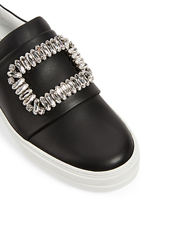 ROGER VIVIER Sneaky Viv Buckle Leather Sneakers Women's Black