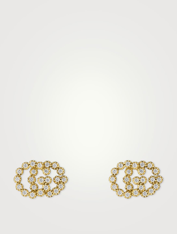 Gucci Gg Running 18k Gold Stud Earrings Designers