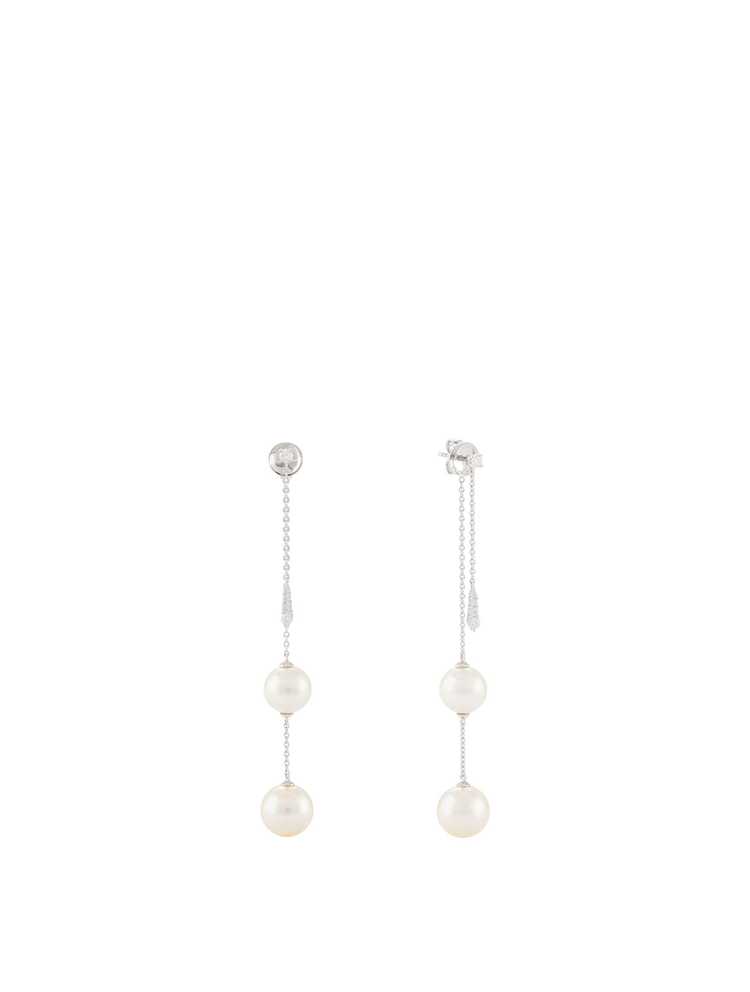 YOKO LONDON 18K White Gold Double Chain Drop Earrings With Pearls And Diamonds Womens White