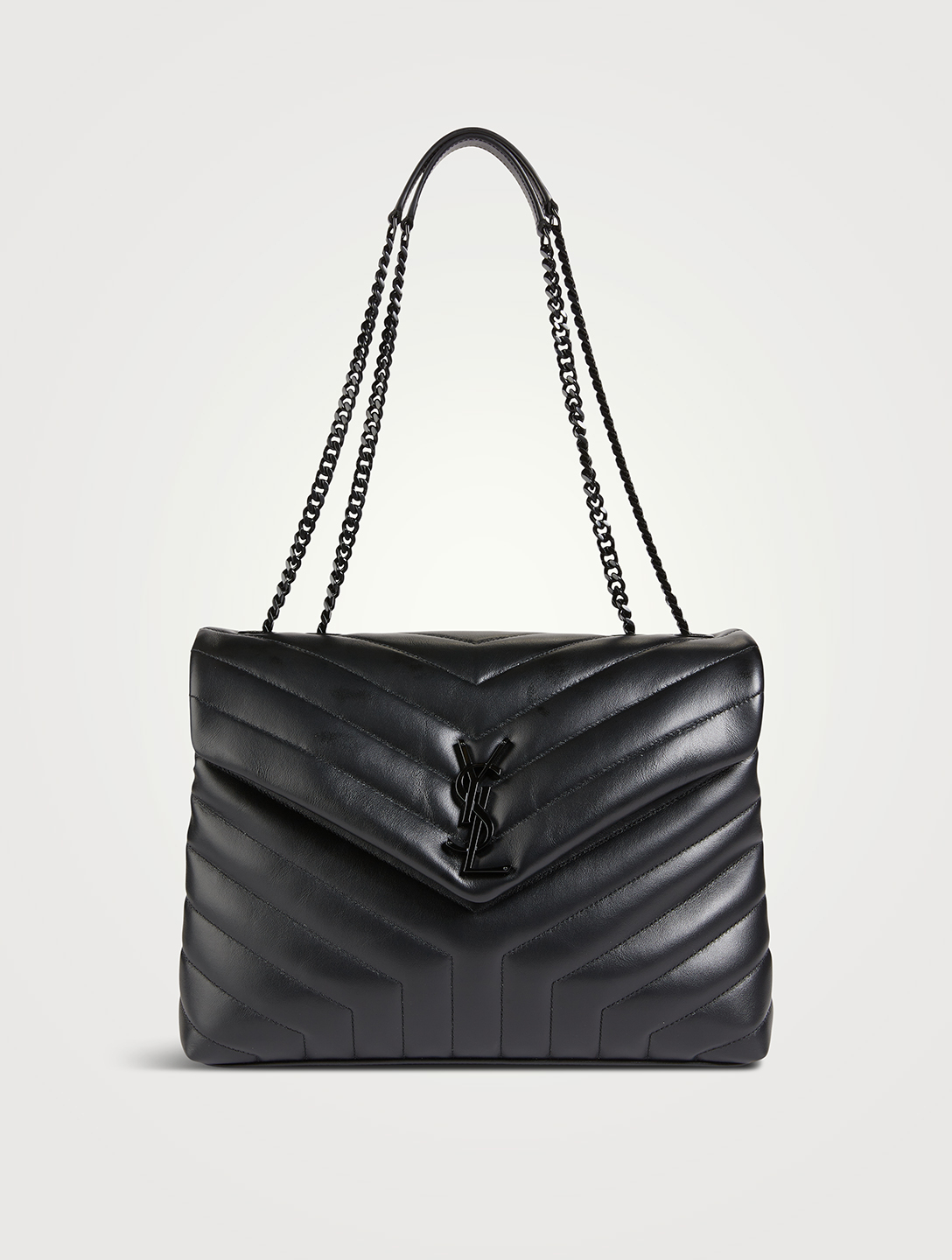 SAINT LAURENT Medium Loulou YSL Monogram Leather Chain Bag Women's Black