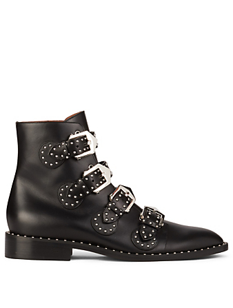 GIVENCHY Elegant Leather Ankle Boots With Studs Womens Black