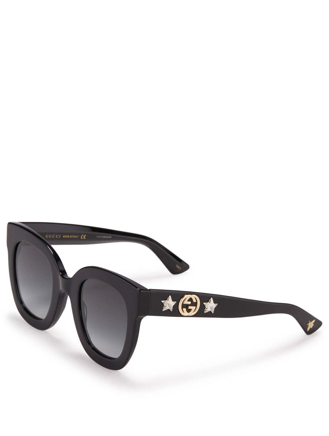 GUCCI Square Sunglasses With Crystal Stars Womens Black