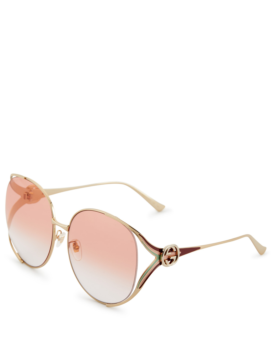 GUCCI Round Sunglasses With Web Women's Pink