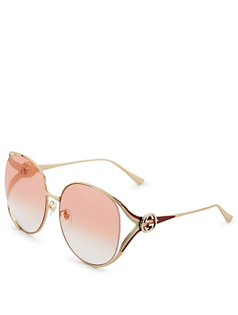 GUCCI Round Sunglasses With Web Womens Pink