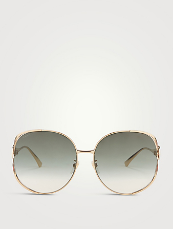 GUCCI Round Sunglasses With Web Women's Gold