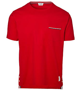 THOM BROWNE Cotton T-Shirt With Pocket Men's Red