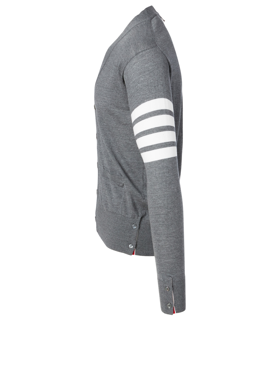 THOM BROWNE Wool Cardigan With Four-Bar Stripe Men's Grey