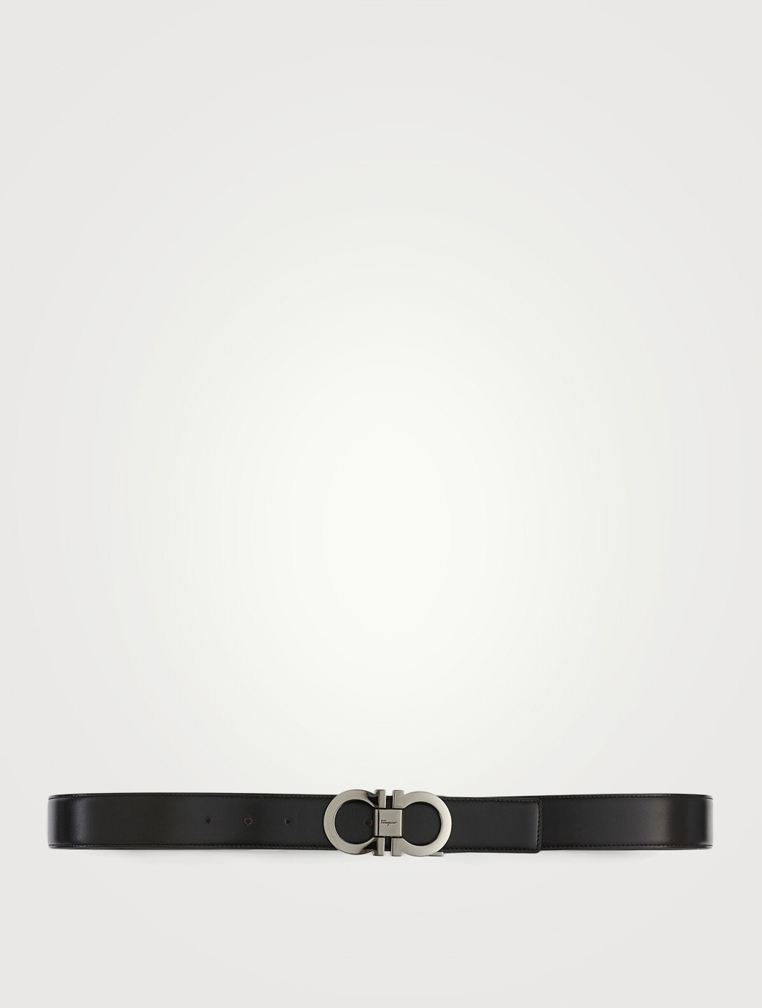 SALVATORE FERRAGAMO Adjustable Reversible Leather Gancini Belt Men's Black