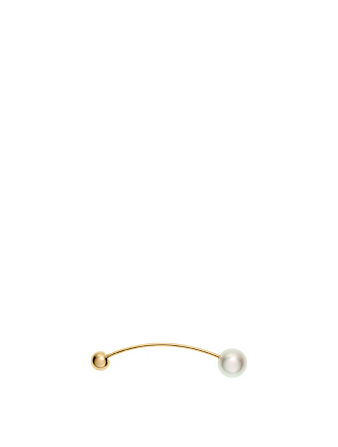 SOPHIE BILLE BRAHE Elipse 14K Gold Simple Single Pearl Earring Womens Gold