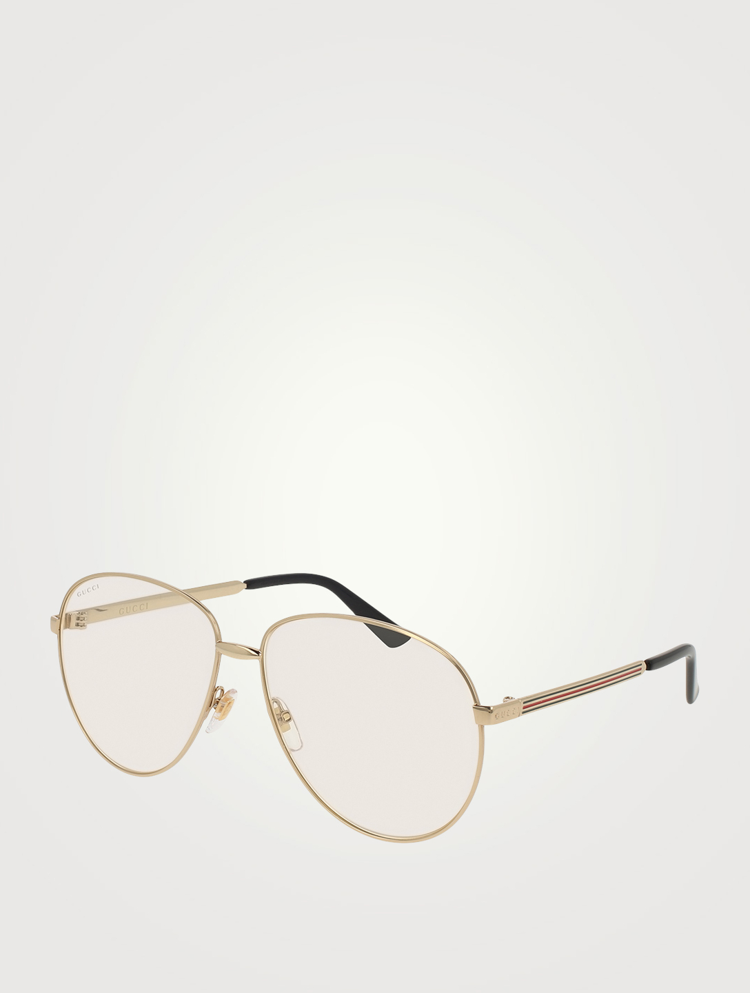 GUCCI Aviator Optical Glasses With Web Womens Gold