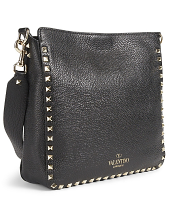 VALENTINO GARAVANI Medium Rockstud Leather Hobo Bag Women's Black
