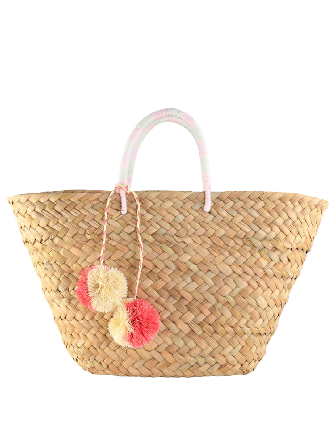 KAYU St Tropez Woven Tote Bag With Pom-Pom H Project Pink