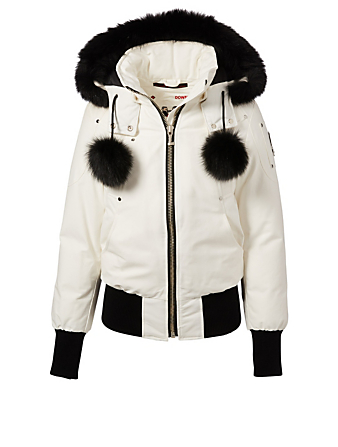 MOOSE KNUCKLES Debbie Down Jacket With Fur Hood Women's White