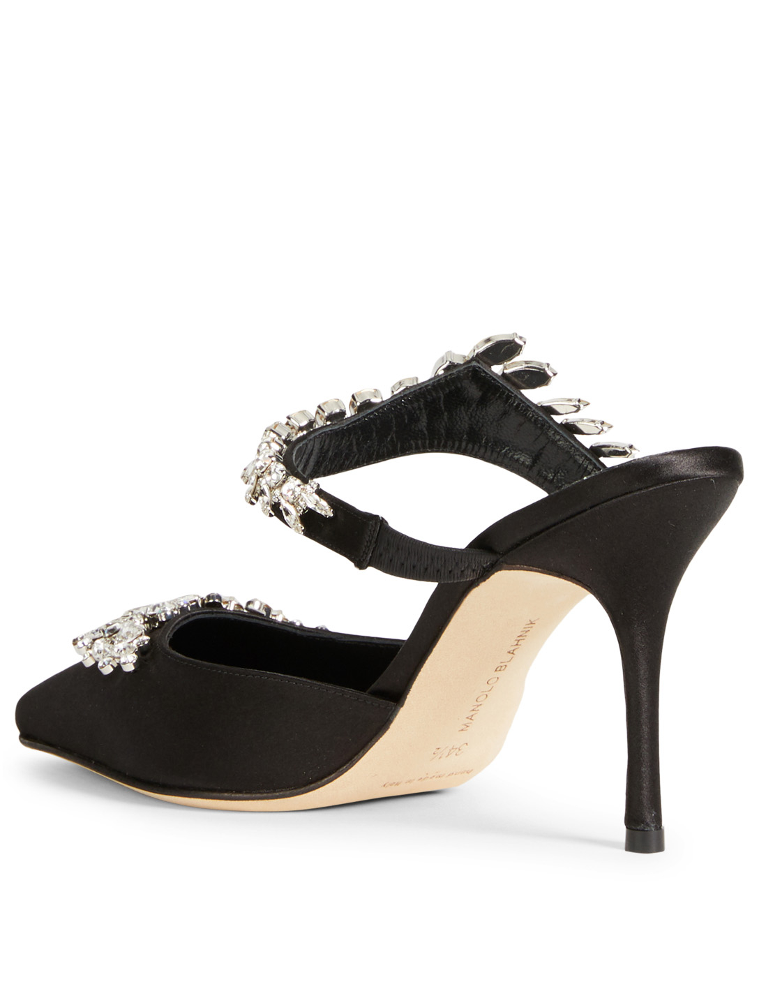 MANOLO BLAHNIK Lurum Satin Mules With Crystal Embellishment Designers Black