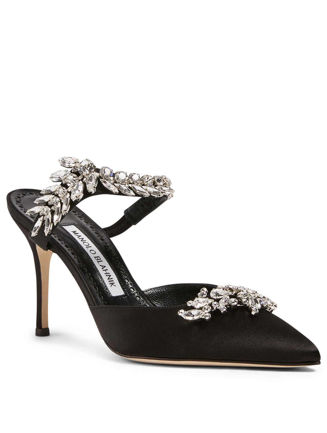 MANOLO BLAHNIK Lurum Satin Mules With Crystal Embellishment Women's Black