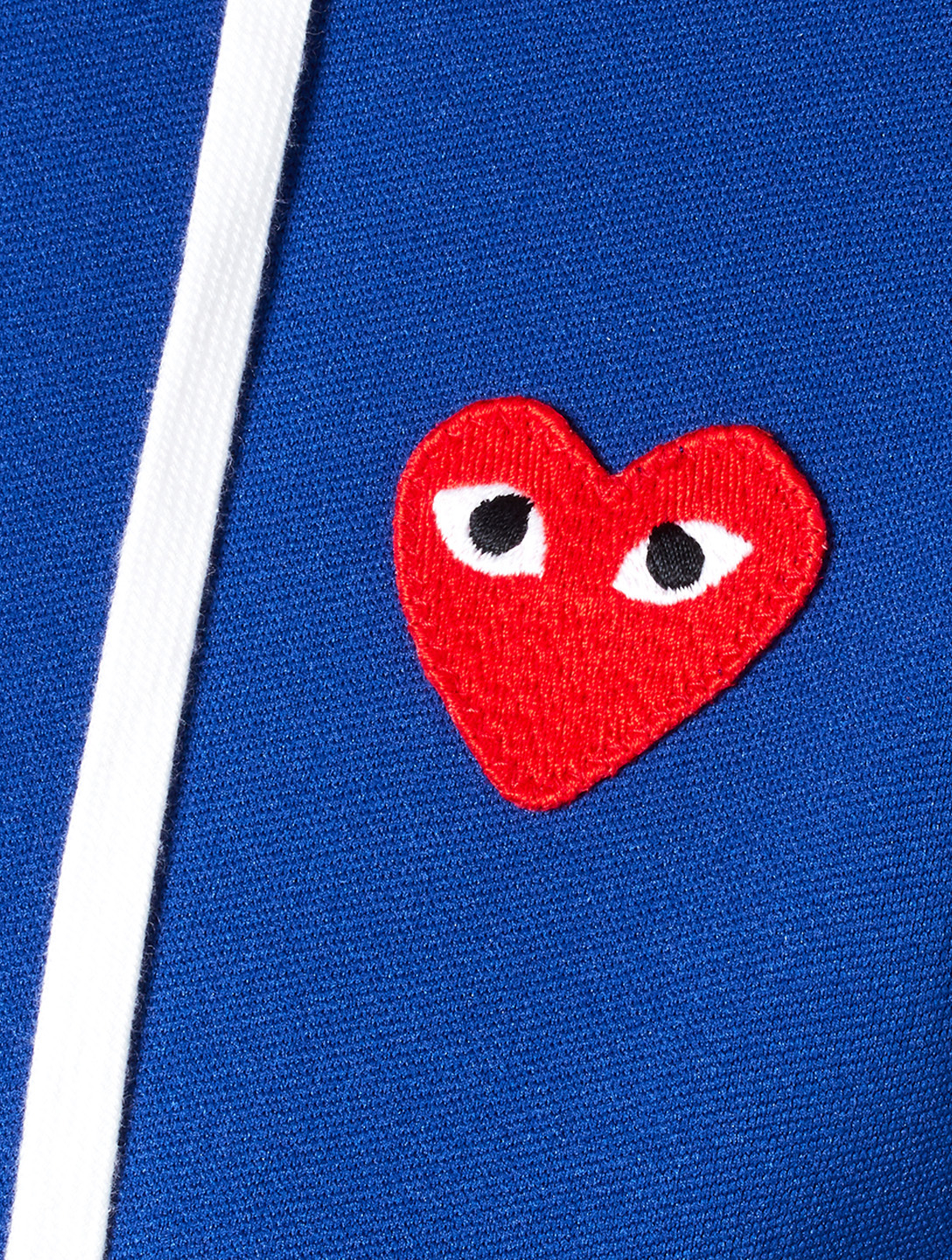 COMME DES GARÇONS PLAY Embroidered Heart Zip-Up Hoodie Women's Blue