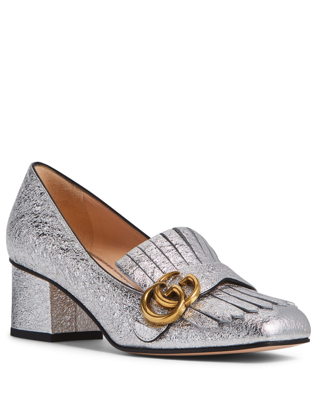 130c5ef71aa ... GUCCI Marmont Metallic Leather Loafer Pumps Designers Silver ...