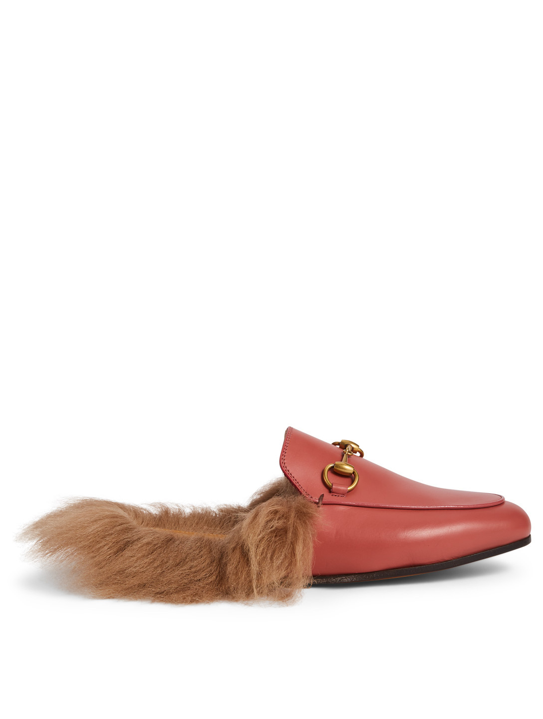 GUCCI Princetown Leather Slippers With Lambswool Women's Pink