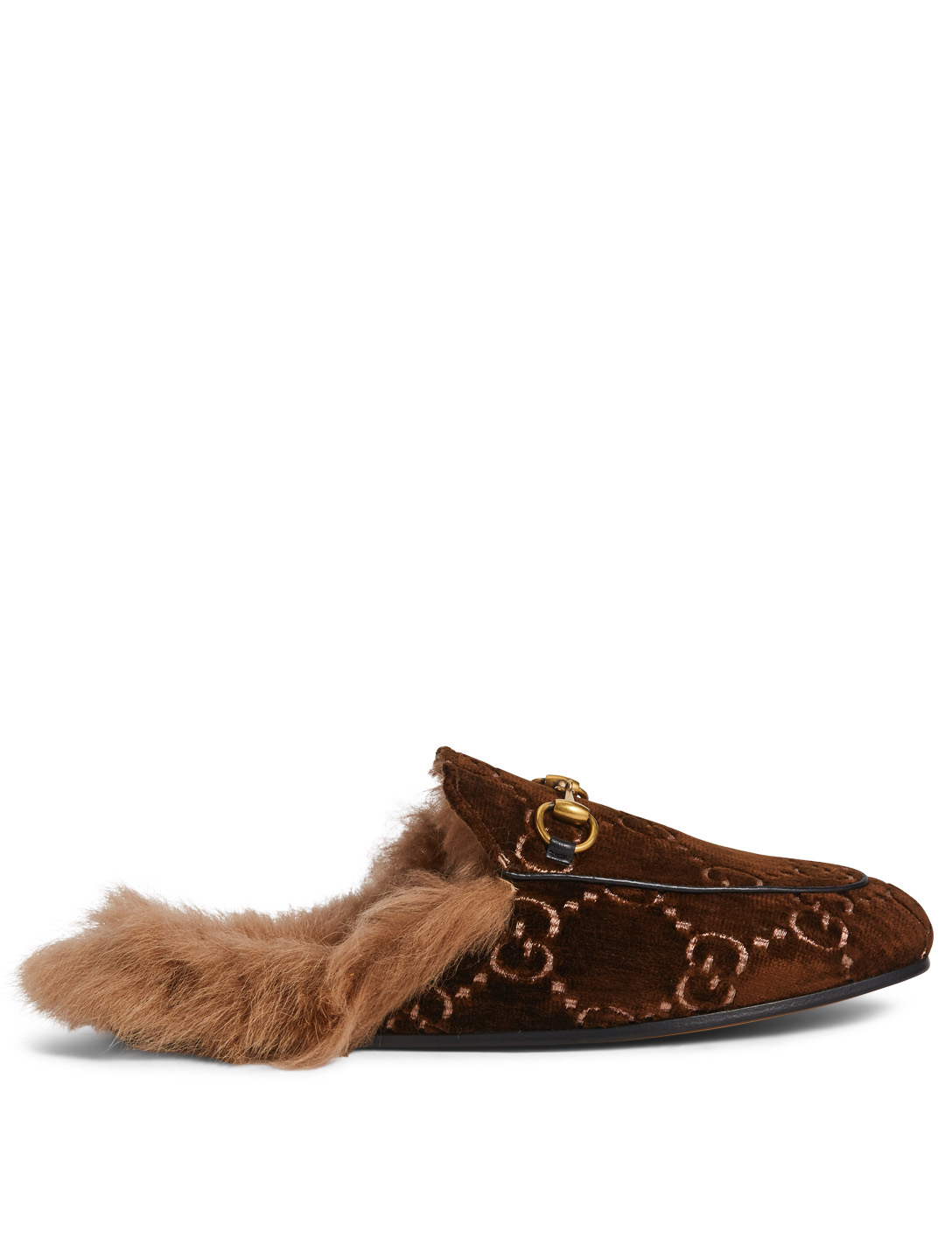 fd2cdaf561f GUCCI Princetown GG Velvet Slippers With Lambswool Womens Brown ...