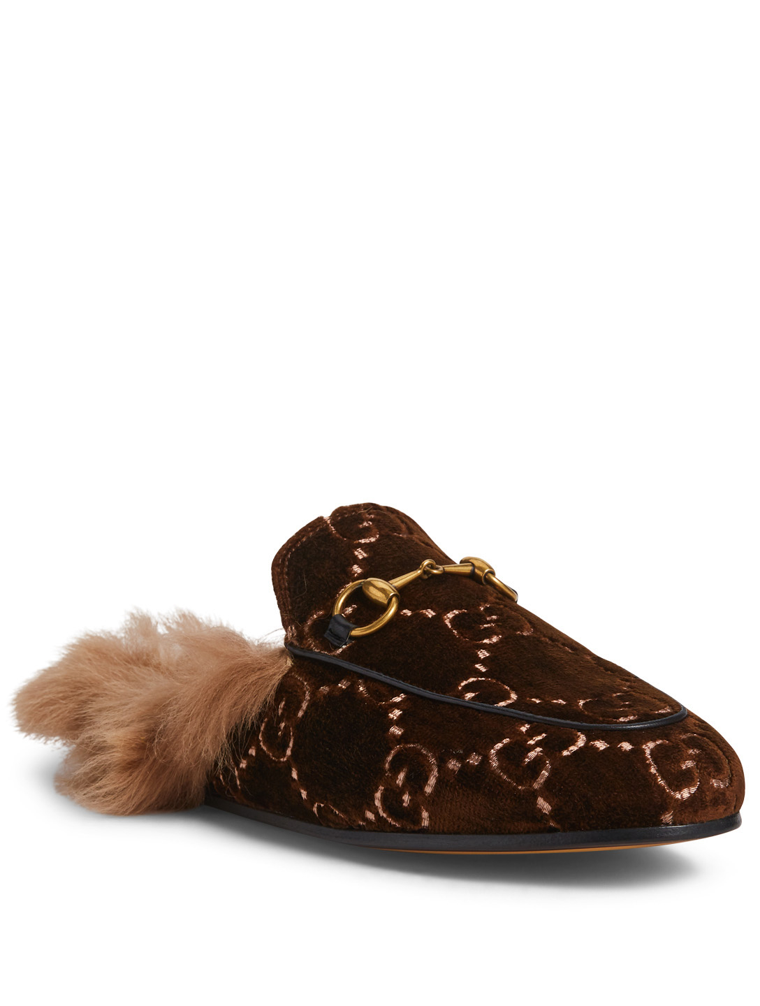 7530221bc71 ... GUCCI Princetown GG Velvet Slippers With Lambswool Womens Brown ...