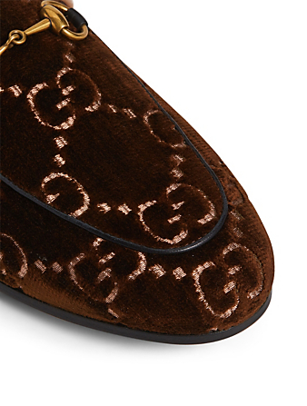 GUCCI Princetown GG Velvet Slippers With Lambswool Womens Brown