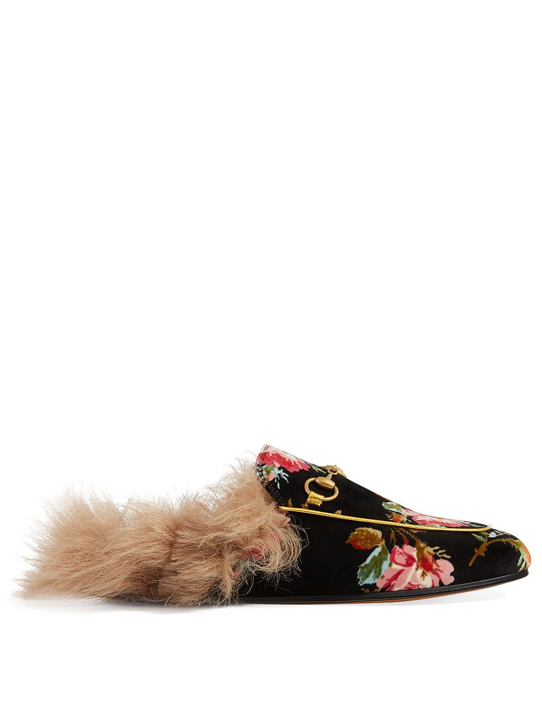 GUCCI Princetown Rose Velvet Slippers With Lambswool Womens Blue