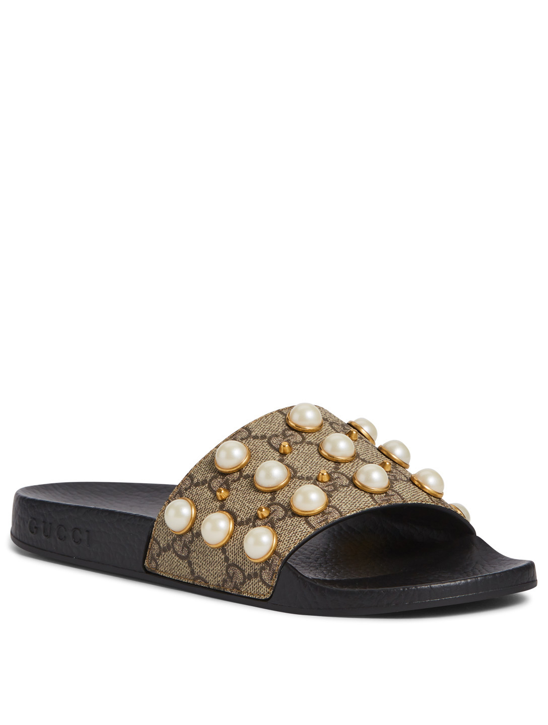 ed57178d3cb ... GUCCI GG Supreme Pool Slides With Pearls Womens Neutral ...