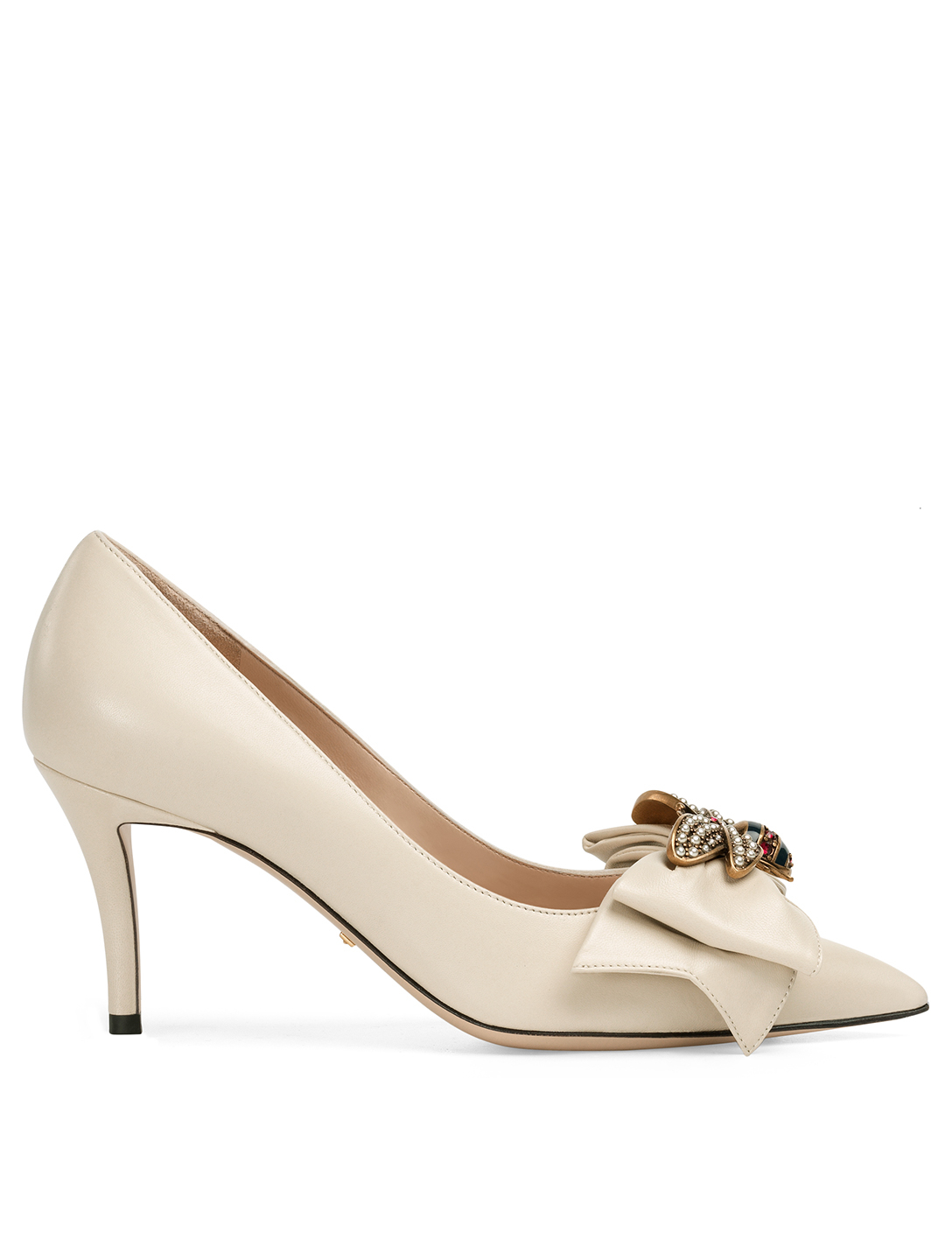 752c96731fb GUCCI Queen Margaret Leather Pumps With Jewelled Bee Womens White ...