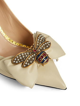 14aa6d81a7f ... GUCCI Queen Margaret Leather Pumps With Jewelled Bee Womens White