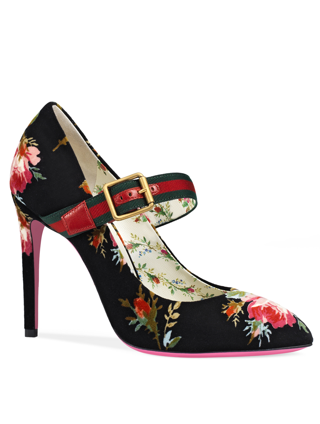 GUCCI Sylvie Floral Velvet Pumps Womens Blue