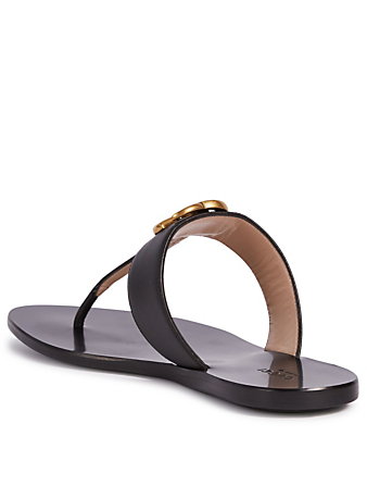 GUCCI Marmont Leather Thong Sandals Womens Black