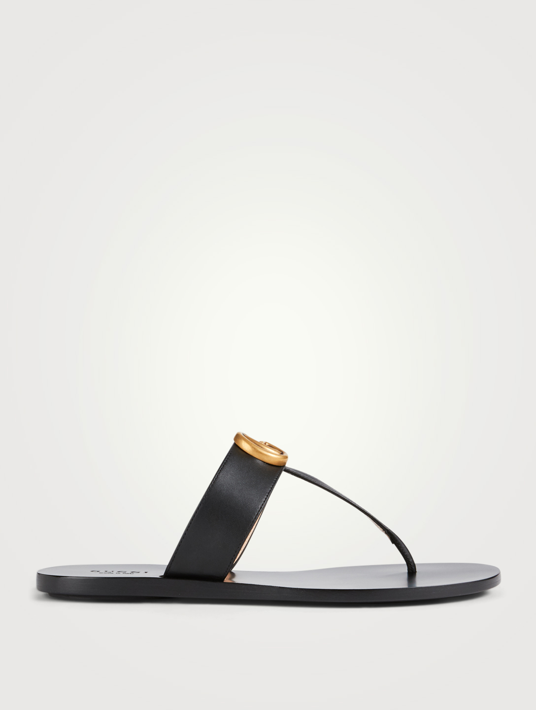 GUCCI Leather Thong Sandals With Double G Women's Black