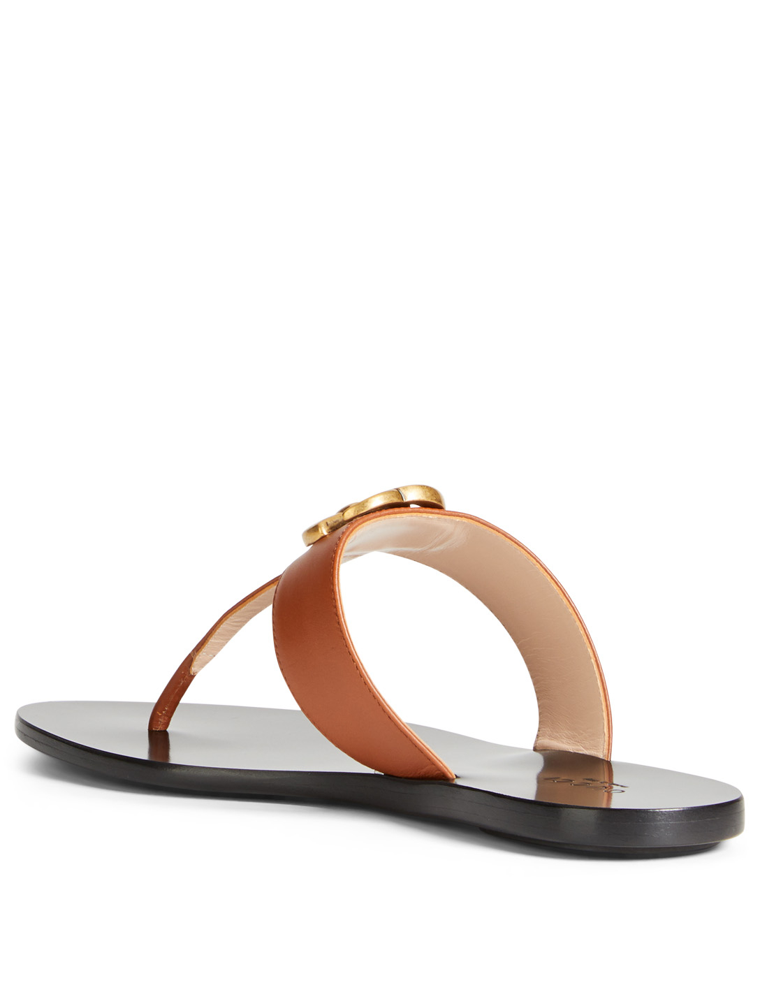 GUCCI Marmont Leather Thong Sandals Women's Brown