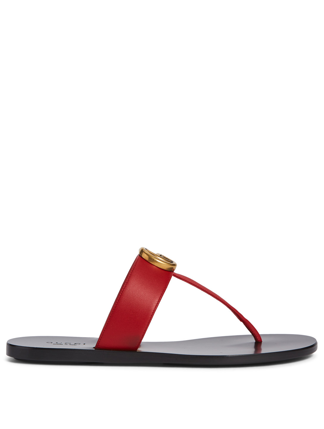 GUCCI Marmont Leather Thong Sandals Womens Red ... bd715374f