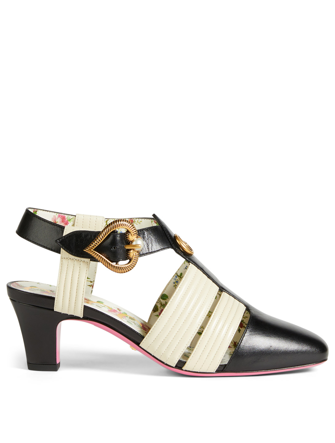 GUCCI Gea Leather T-Strap Pumps Designers Black