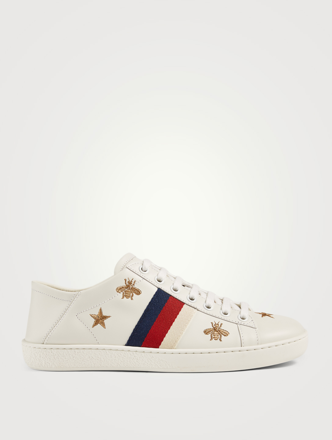 GUCCI Ace Embroidered Leather Sneakers Women's White