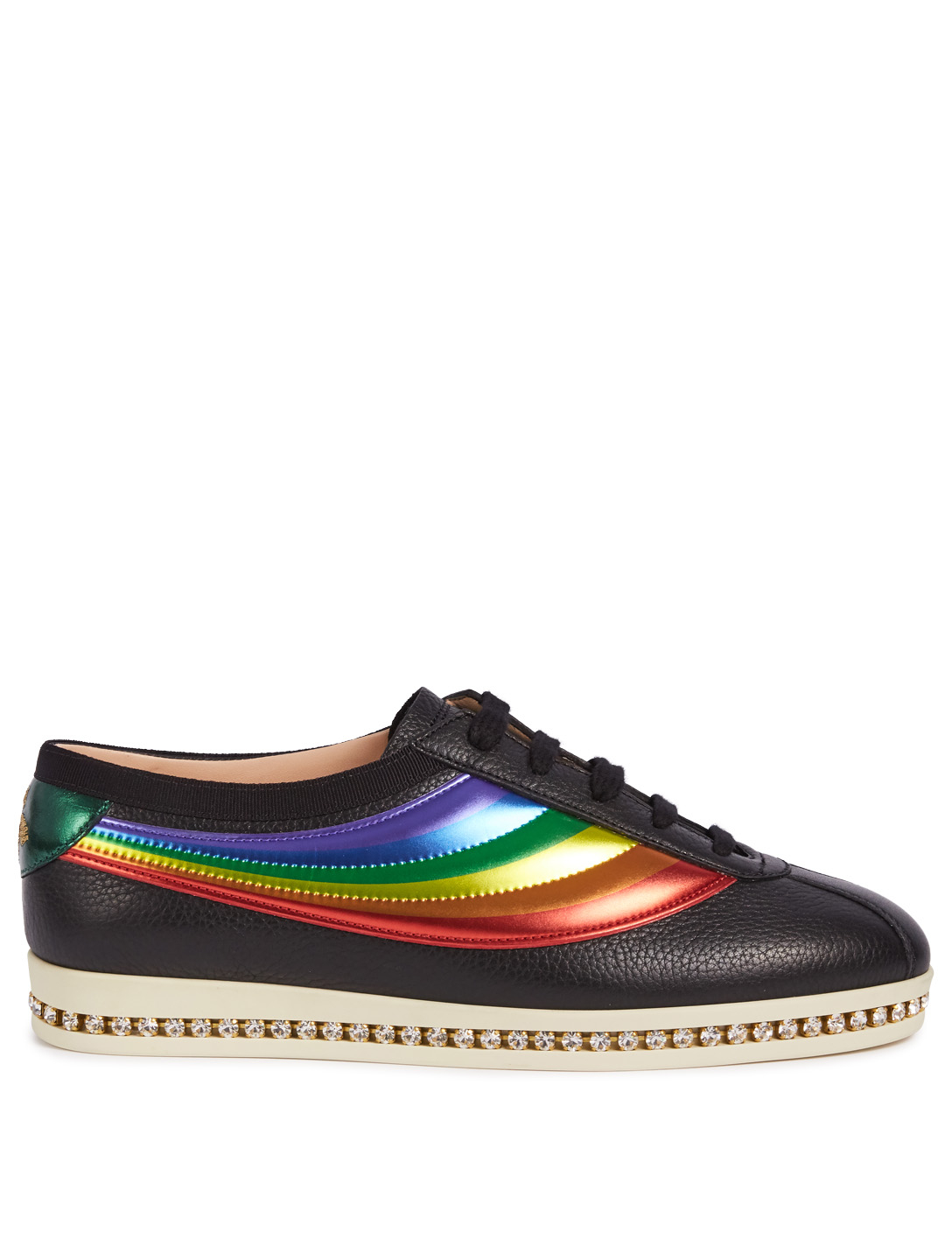 GUCCI Falacer Leather Sneakers With Crystals Womens Black