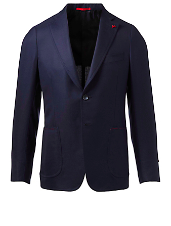 ISAIA Wool Jacket Men's Blue
