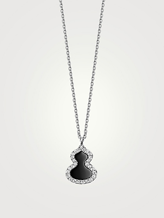 QEELIN Petite Wulu 18K White Gold Necklace With Onyx And Diamonds Womens Silver