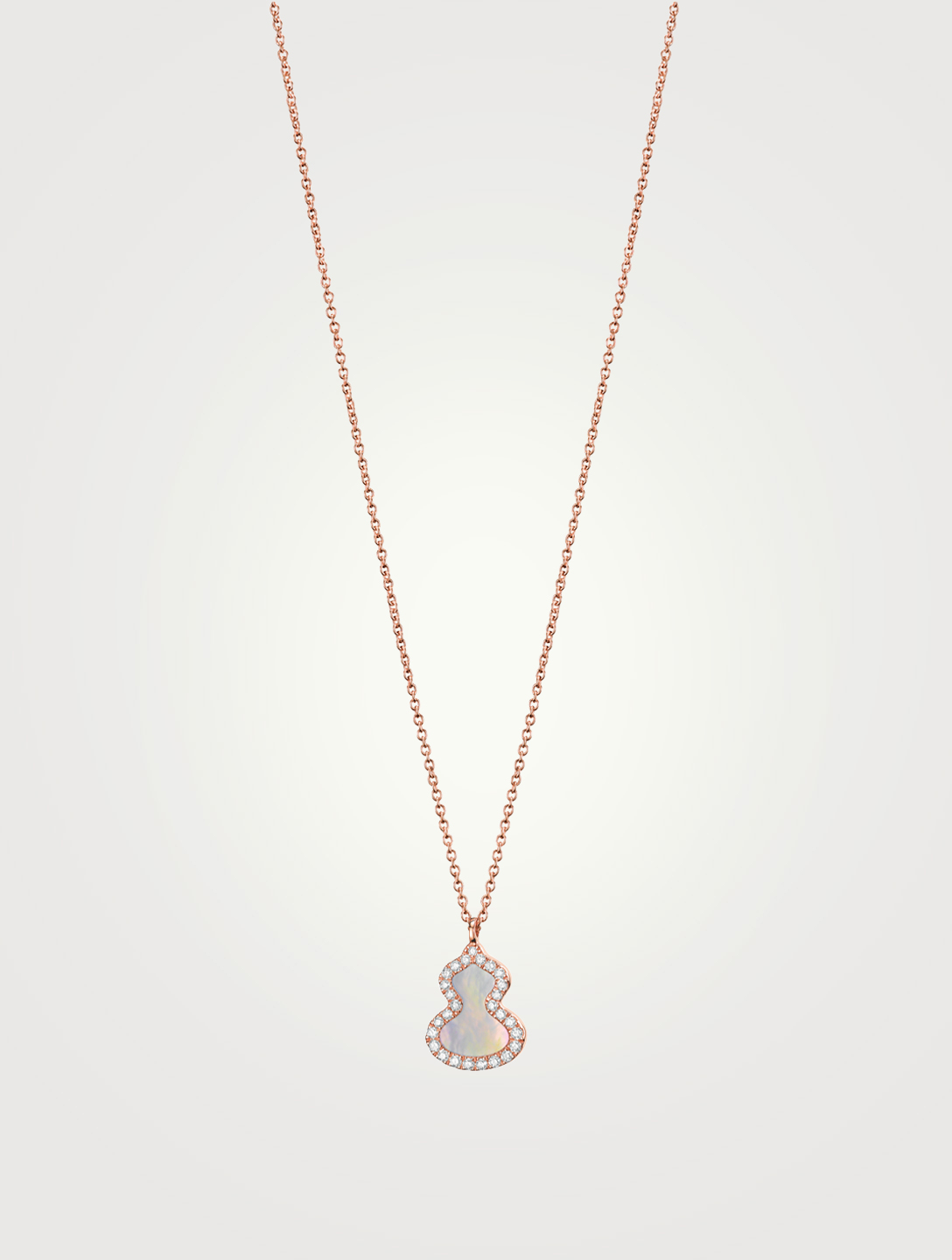 QEELIN Petite Wulu 18K Rose Gold Necklace With Diamonds And Mother Of Pearl Women's Metallic