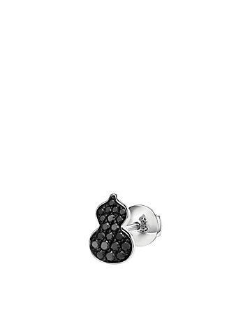 QEELIN Petite Wulu 18K White Gold Stud Earring With Black Diamonds Womens Silver