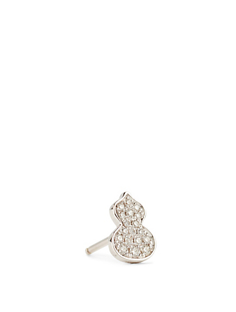 QEELIN Petite Wulu 18K White Gold Stud Earring With Diamonds Womens Silver