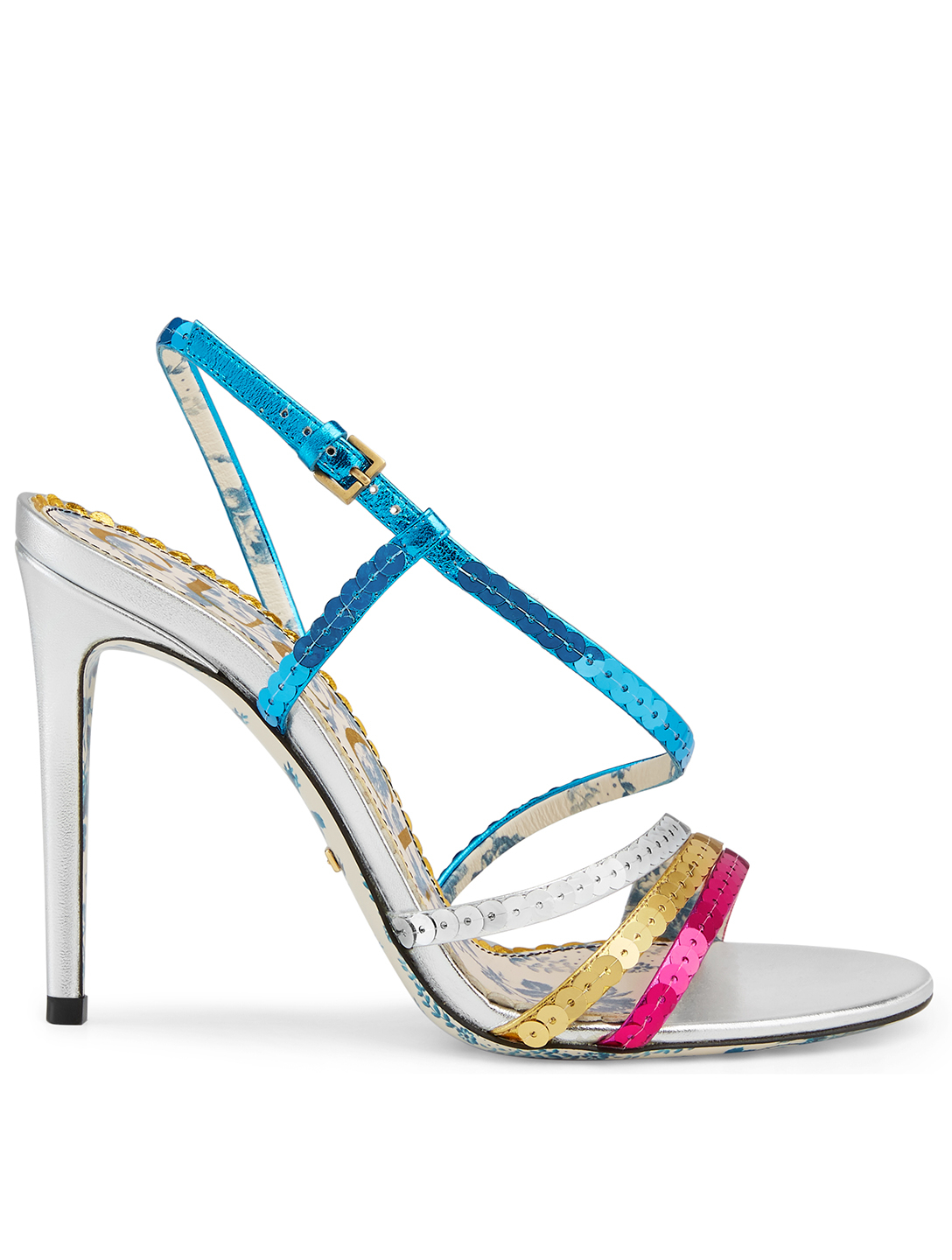 GUCCI Haines Metallic Leather Sandals With Sequins Women's Multi