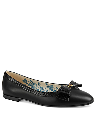 GUCCI Yva Leather Ballet Flats With Snakeskin Bow Womens Black