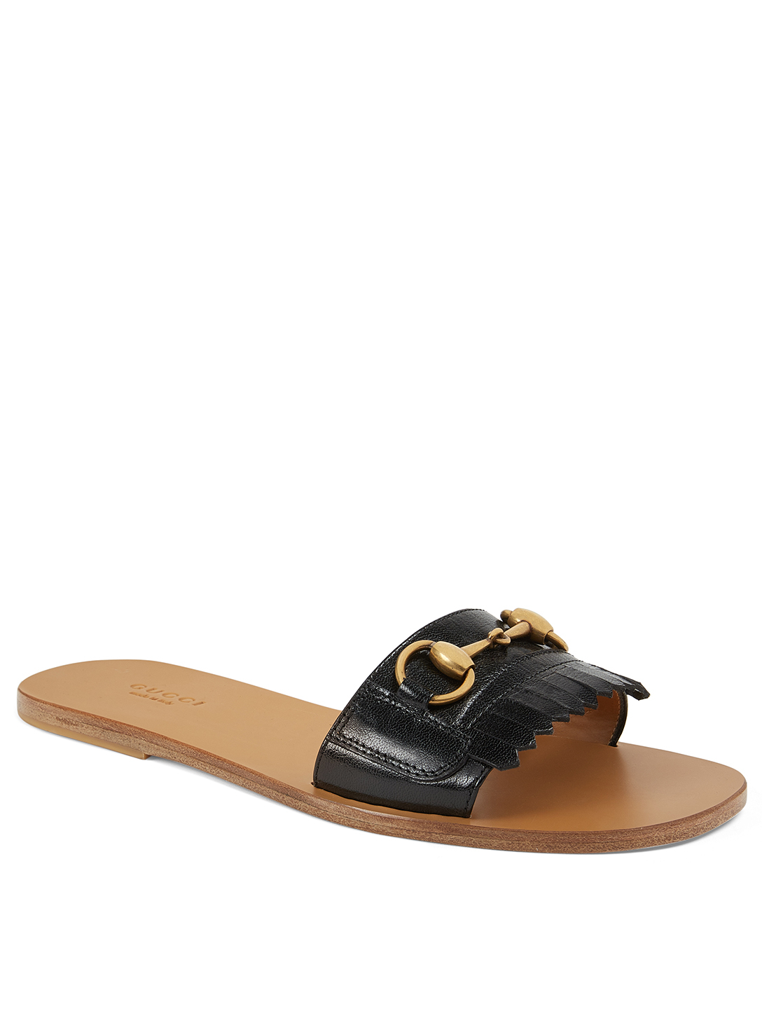 GUCCI Varadero Fringe Leather Slides Womens Black