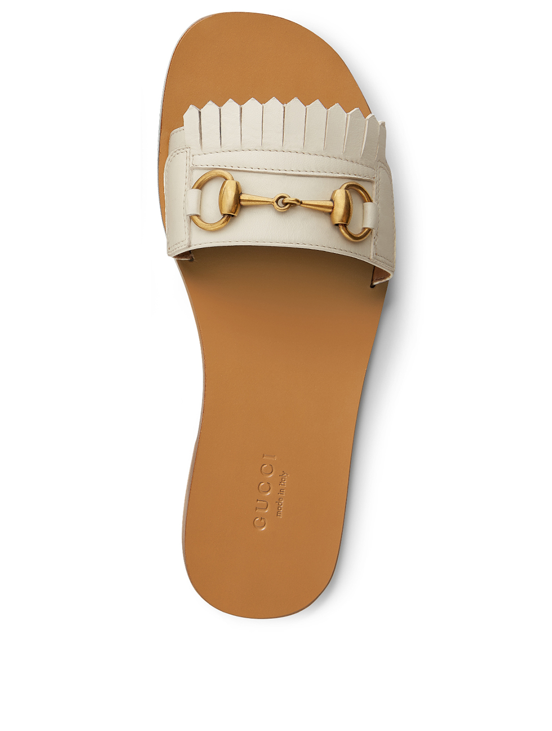 GUCCI Varadero Fringe Leather Slides Women's White