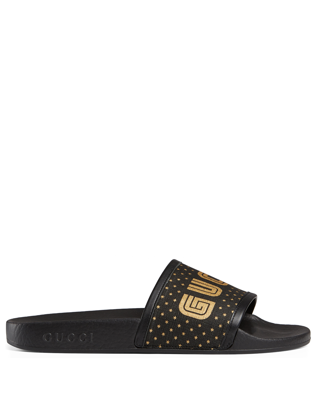 GUCCI Pool Slides With Guccy SEGA® Logo Womens Black