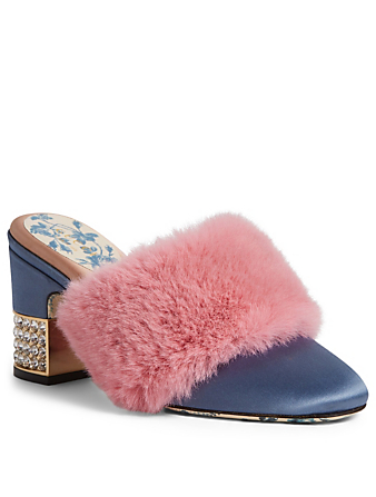 GUCCI Candy Satin Heeled Mules With Fur Womens Purple