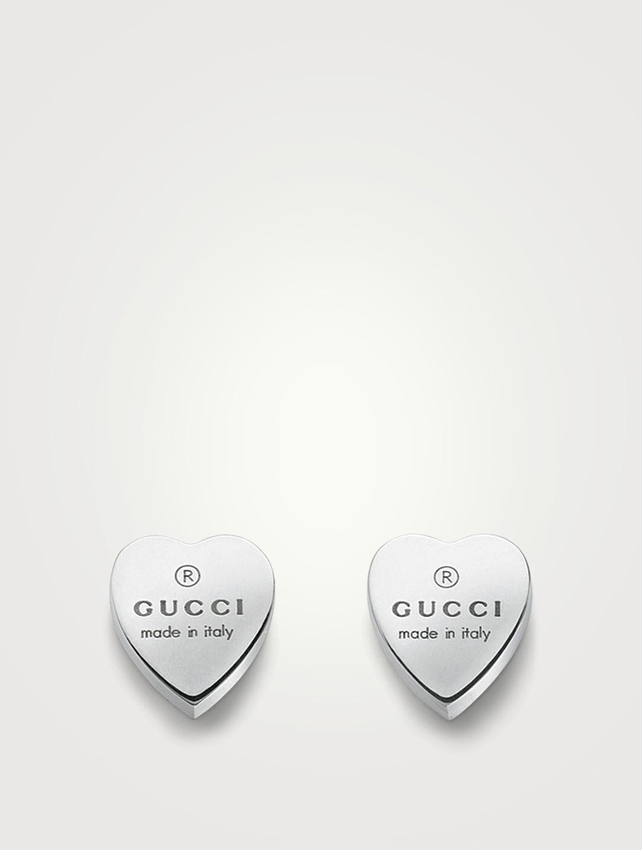 bfa344c7cae GUCCI Trademark Heart Sterling Silver Earrings Women s Silver